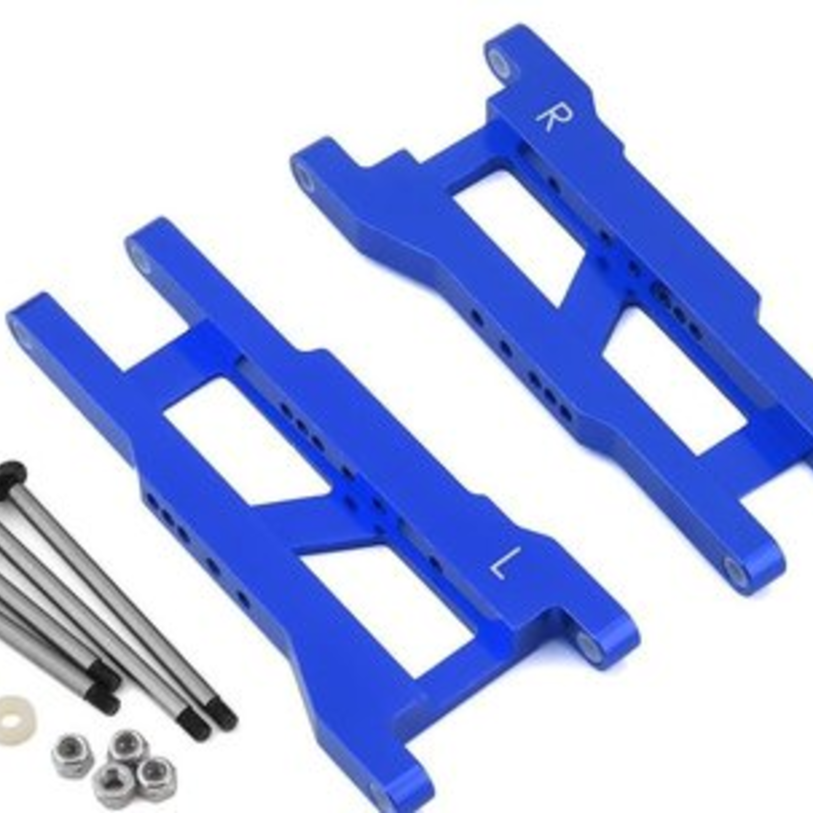 ST Racing Concepts SPTST3655XB ST Racing Concepts Heavy Duty Rear Suspension Arm Kit w/ Lock-Nut Hinge-Pins for Traxxas Rustler/Stampede 2WD (Blue)
