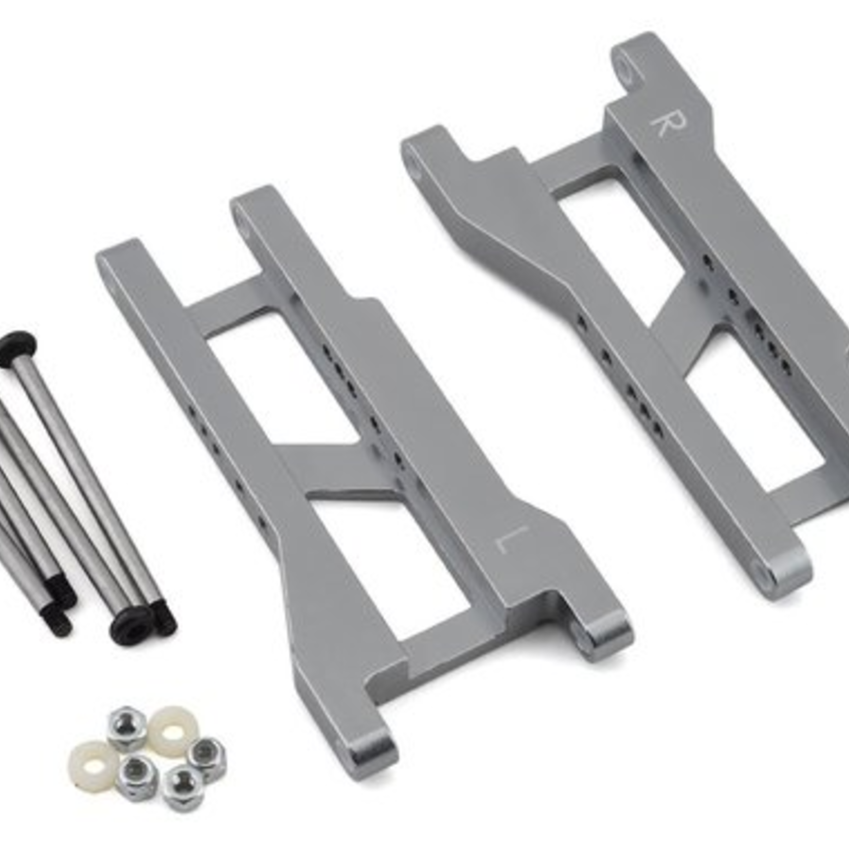 ST Racing Concepts SPTST2555XGM ST Racing Concepts CNC Machined Aluminum Rear A-Arm set (w/steel hinge-pins) for Traxxas Slash (Gun Metal)