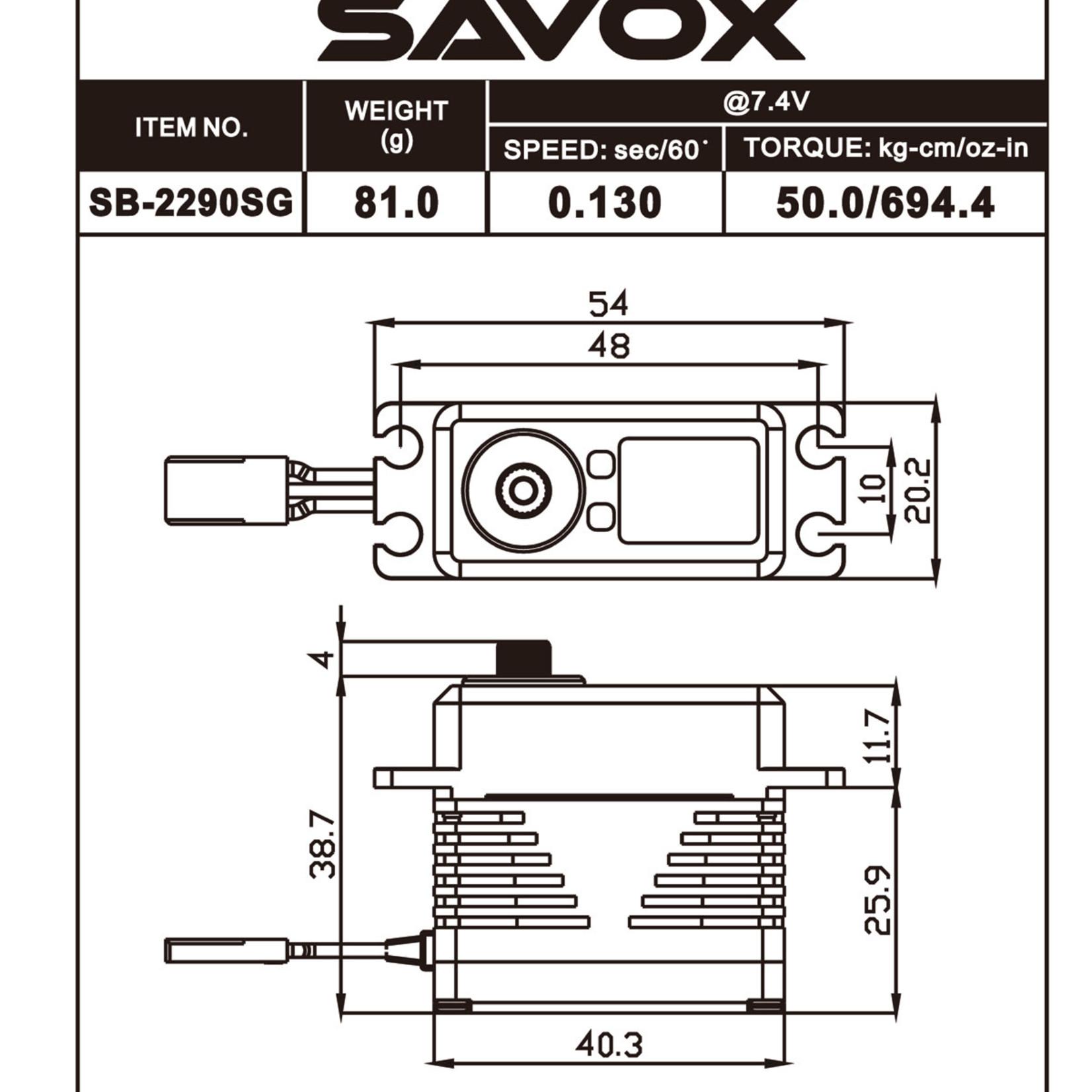 Savox SAVSB2290SG Savox Premium, High Voltage, Brushless, Digital Servo 0.11sec / 972.1oz @ 8.4v - Black Edition