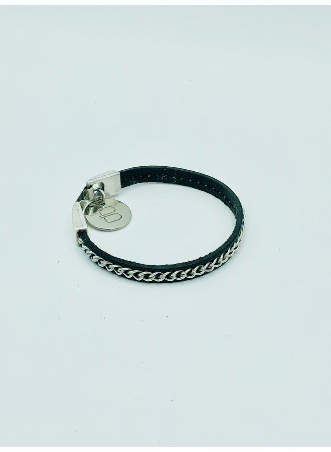 Lotus Mini Chain Leather Bracelet B693