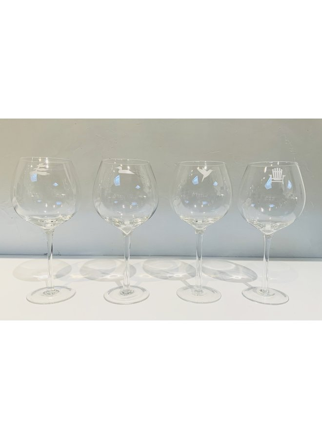 Set of 4 Wine Goblets w Icons H09