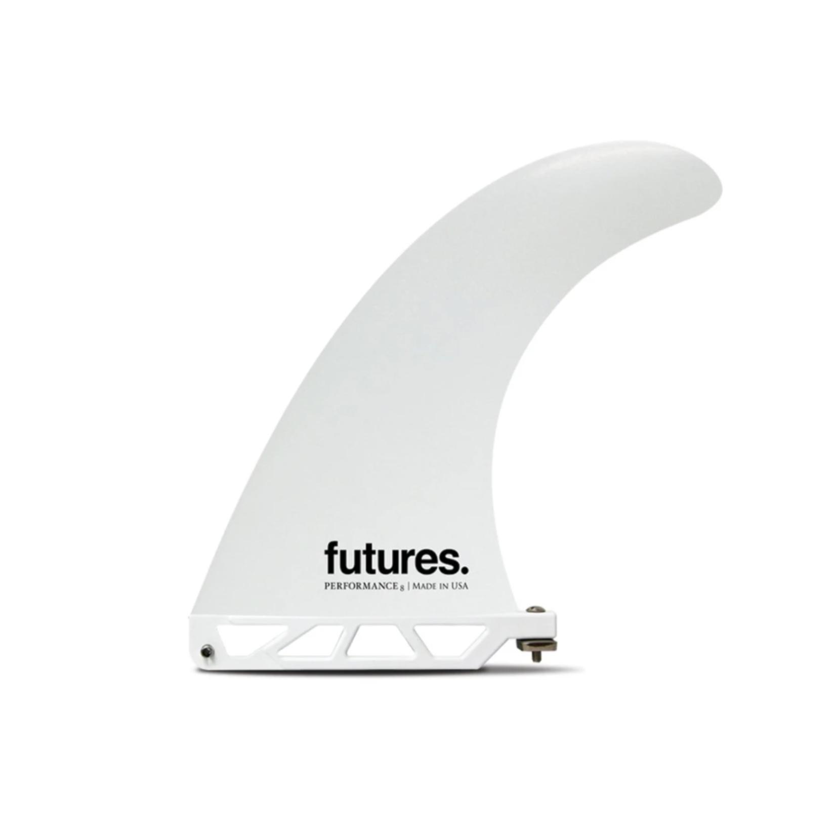 """Futures. Futures 8"""" Single Fin White."""