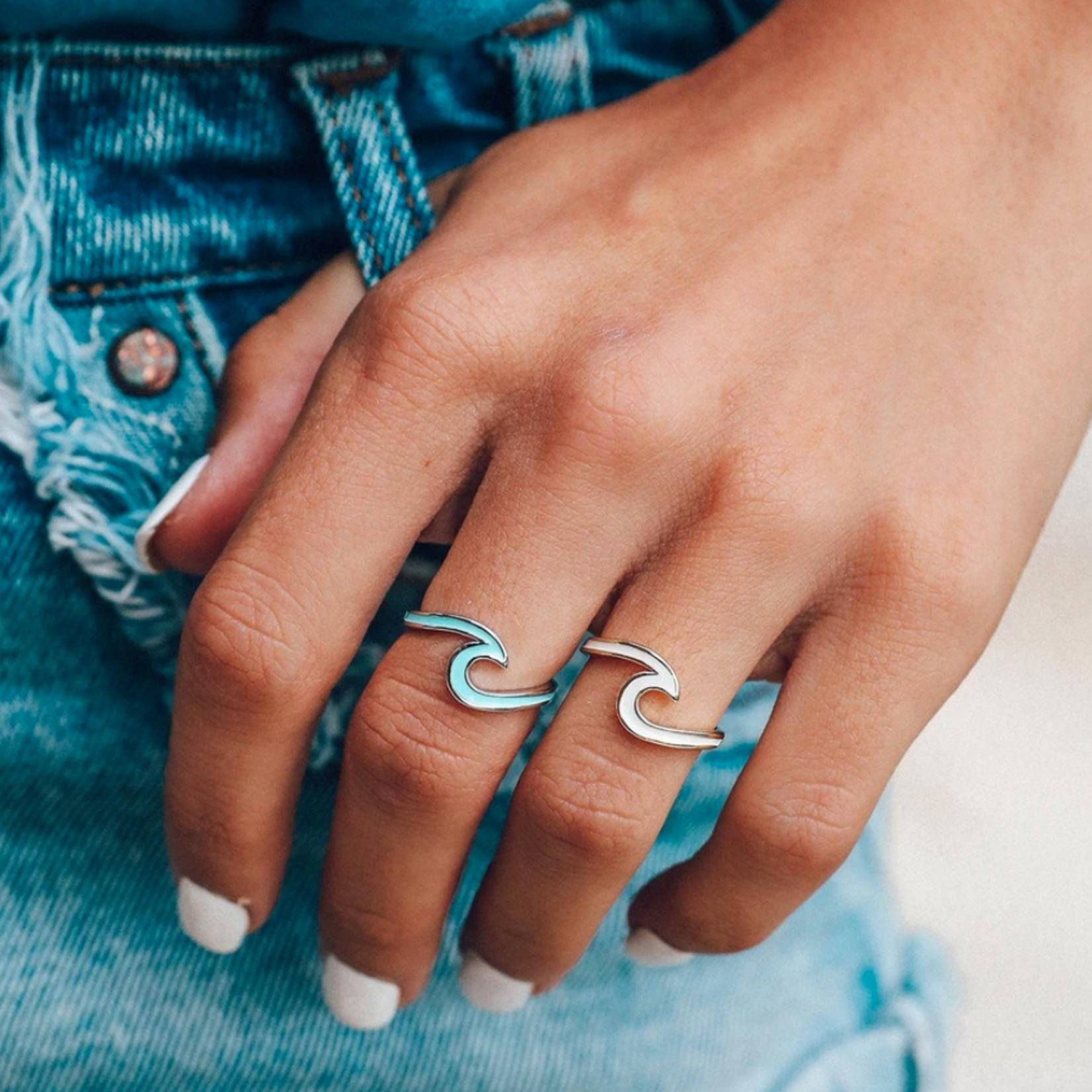 Pura Vida Jewelry Puravida Enameled Wave Ring Silver.