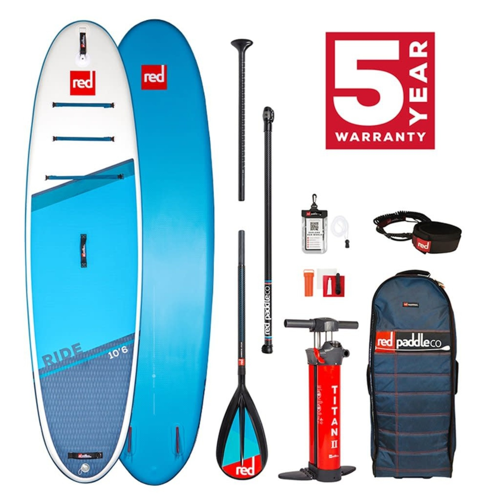 Red Paddle Co. 10'6 Red Ride Alloy 3pc Package