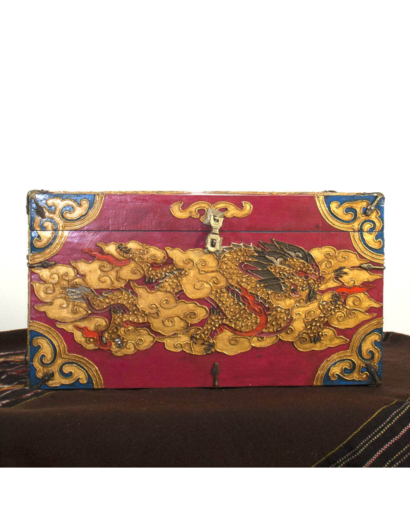 dZi One of a kind- Hand Painted Chest-Red