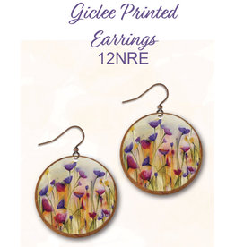 Illustrated Light Round Giclee Earrings