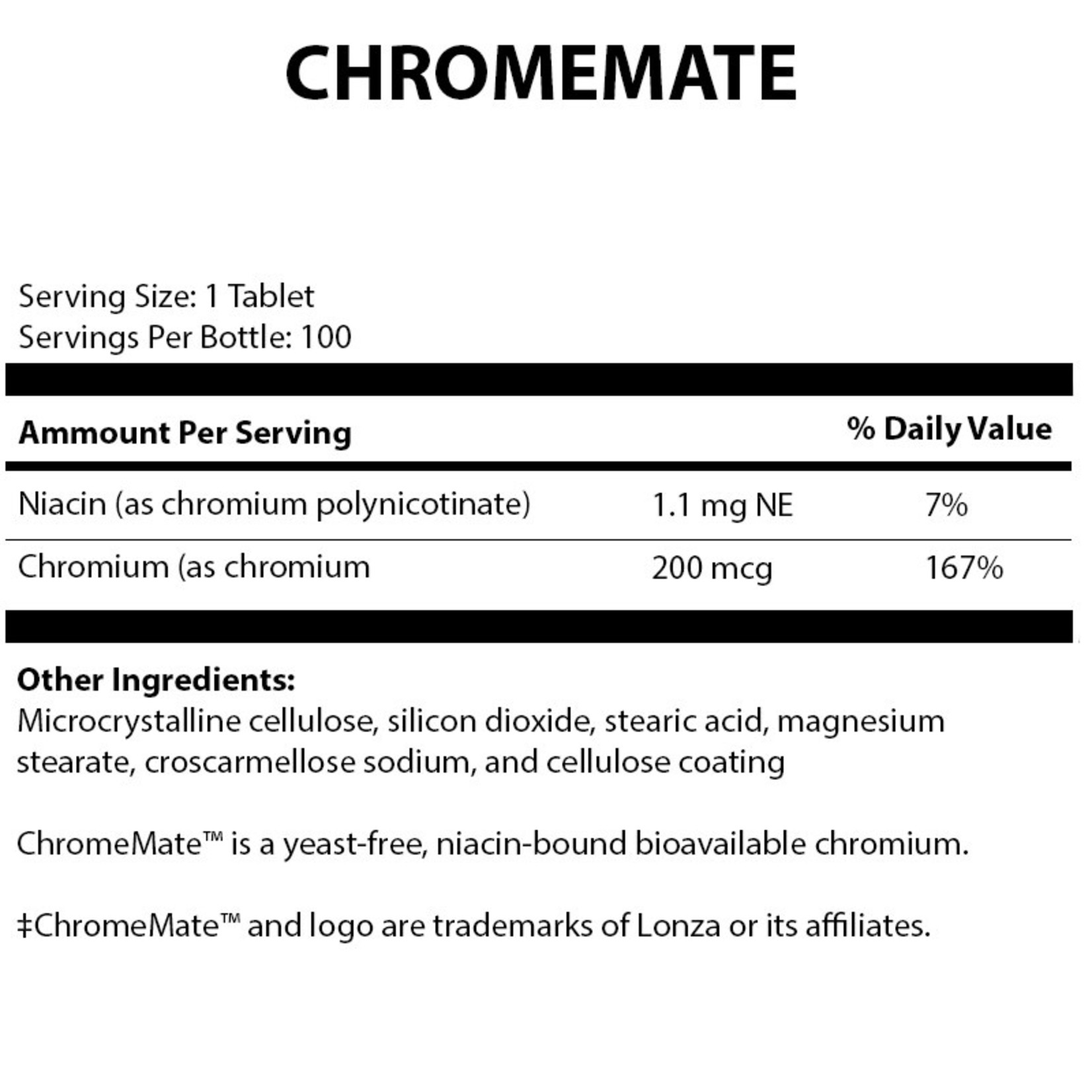 Alpine Clinic PL ChromeMate 200 mcg - 100 Tablets