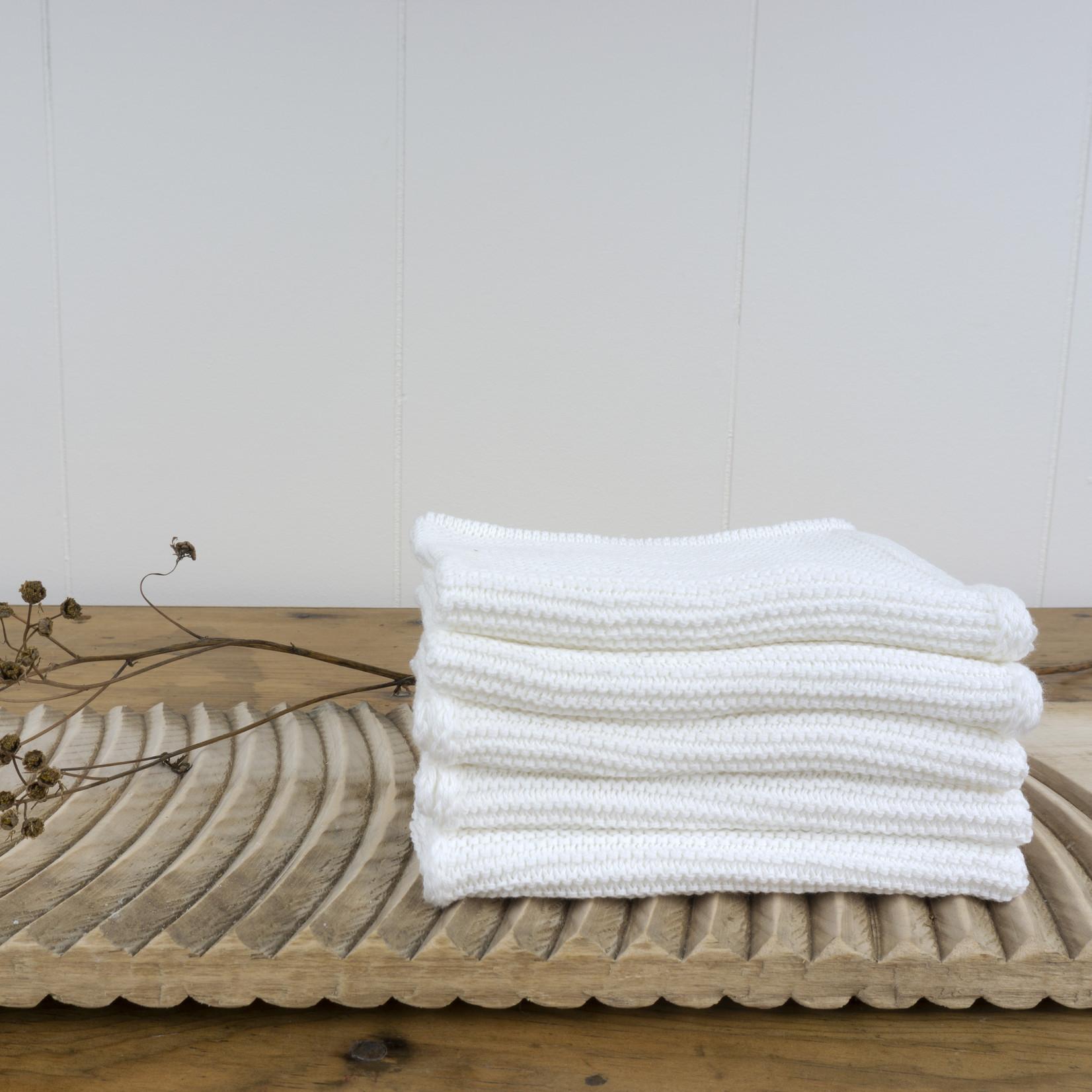 Organic Knitted Cotton Washcloth - white