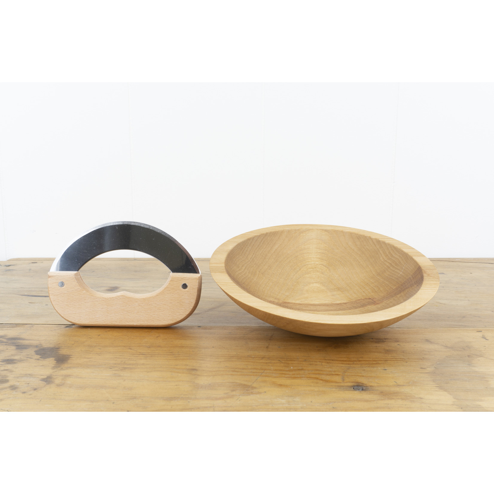 Wooden Herb Chopping Bowl with knife