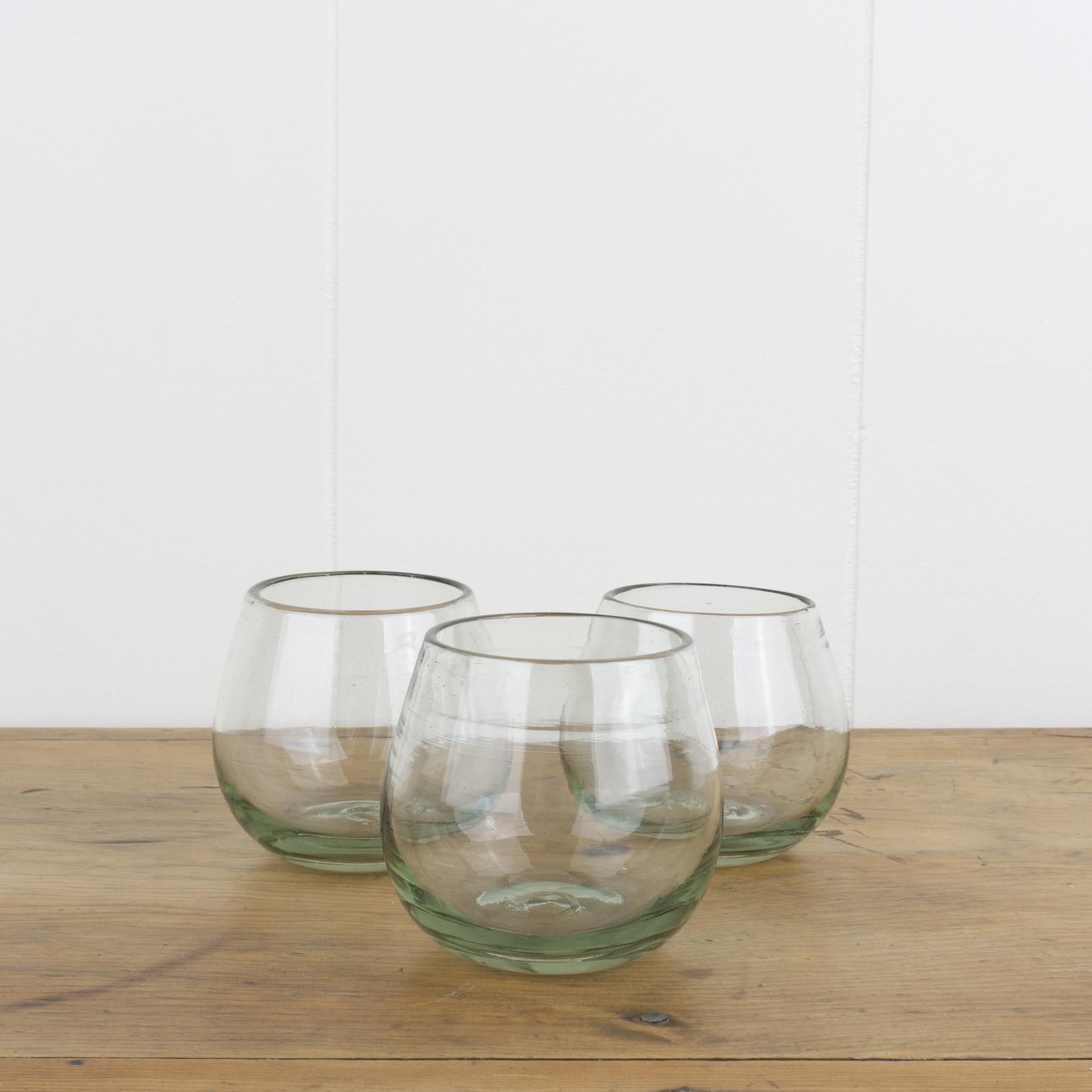Handblown Roli Poli Glass- clear