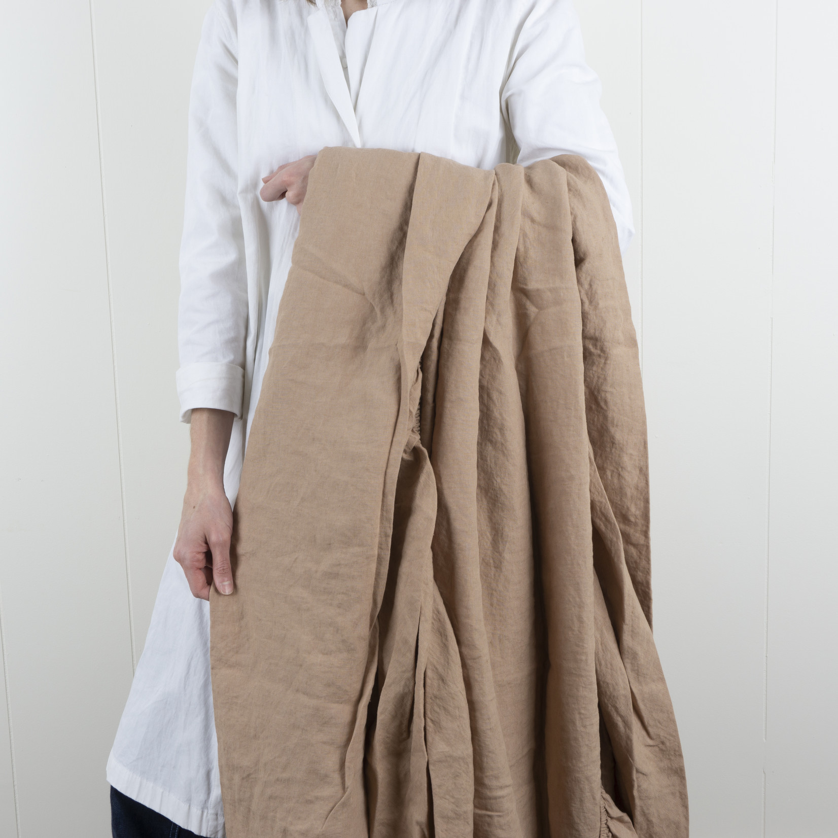 Linen Fitted Sheet- King- fawn