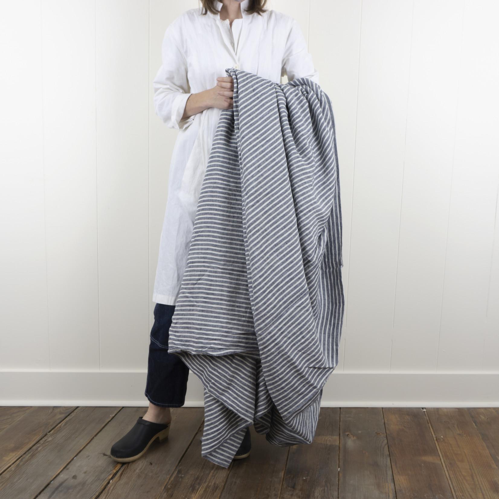 Linen Duvet Cover - Queen - indigo stripe
