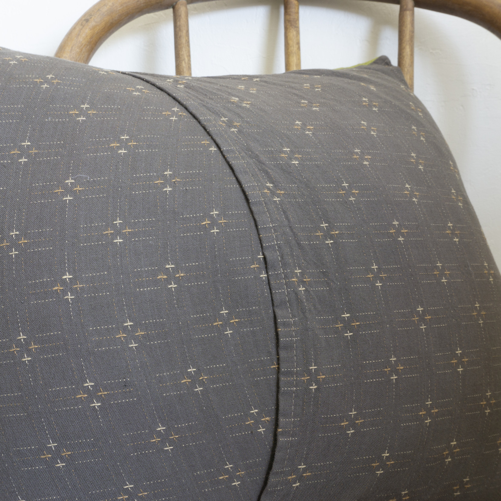 Patchwork Pillow Cover- white tick solid