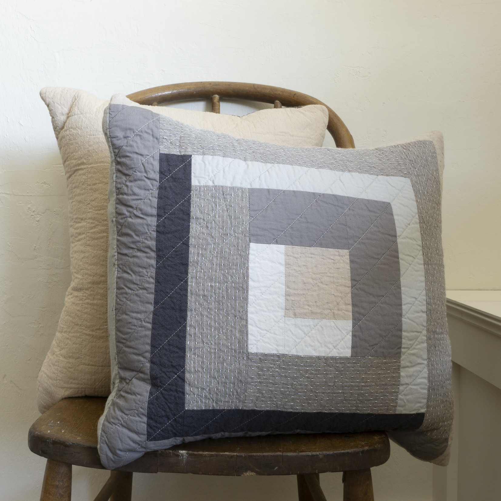 Patchwork Pillow Cover- cream solid