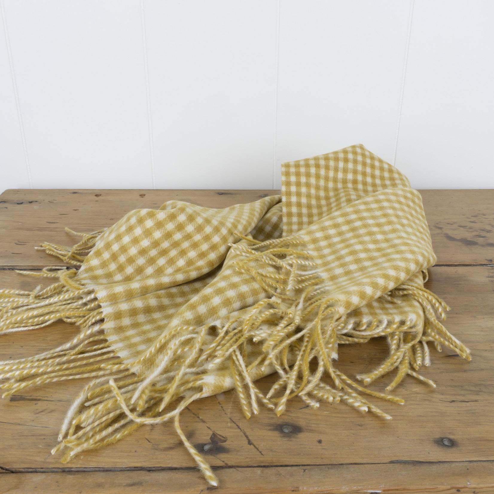 Wool Baby Blanket- mustard gingham