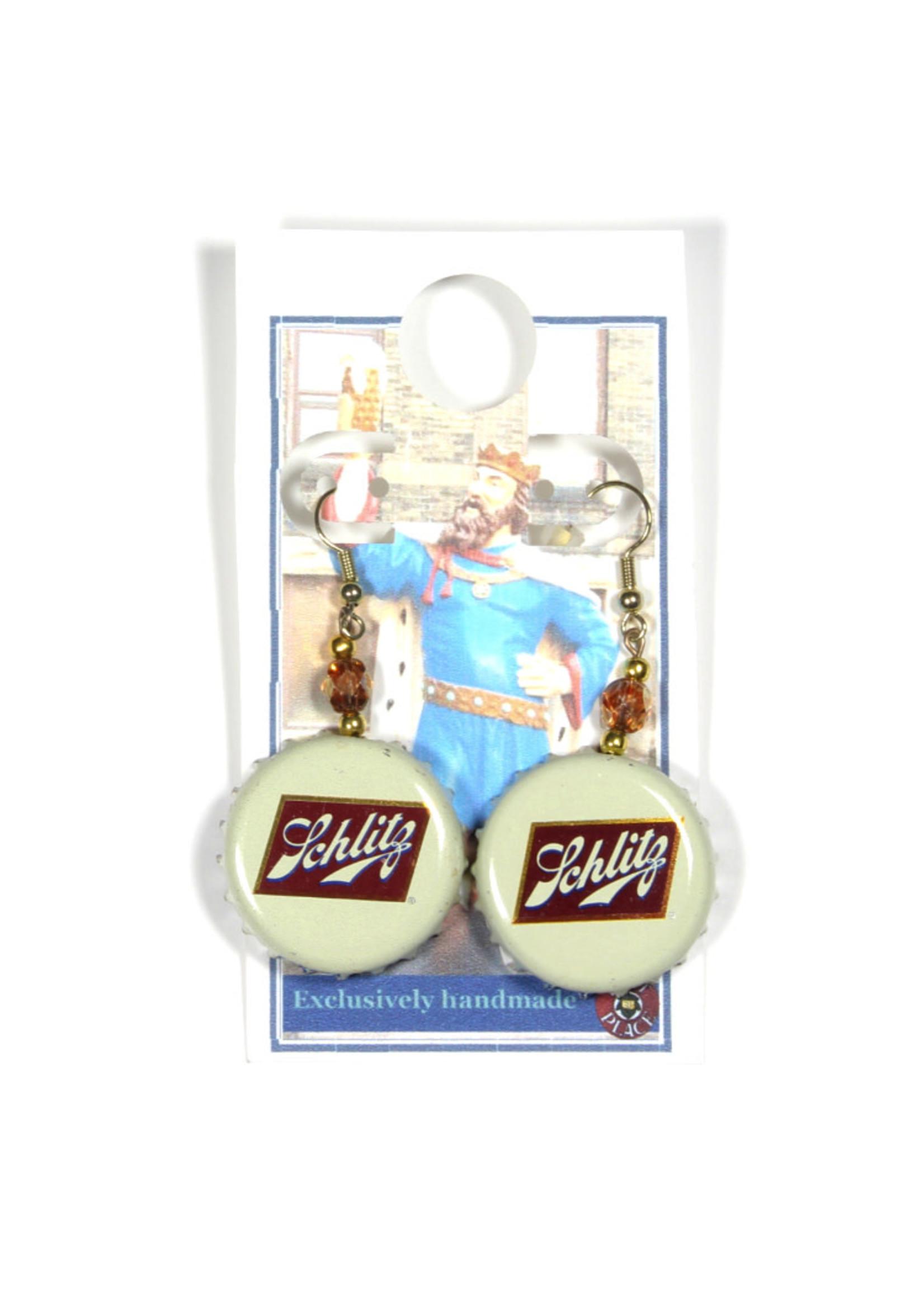 Schlitz Schlitz Bottle Cap Earrings