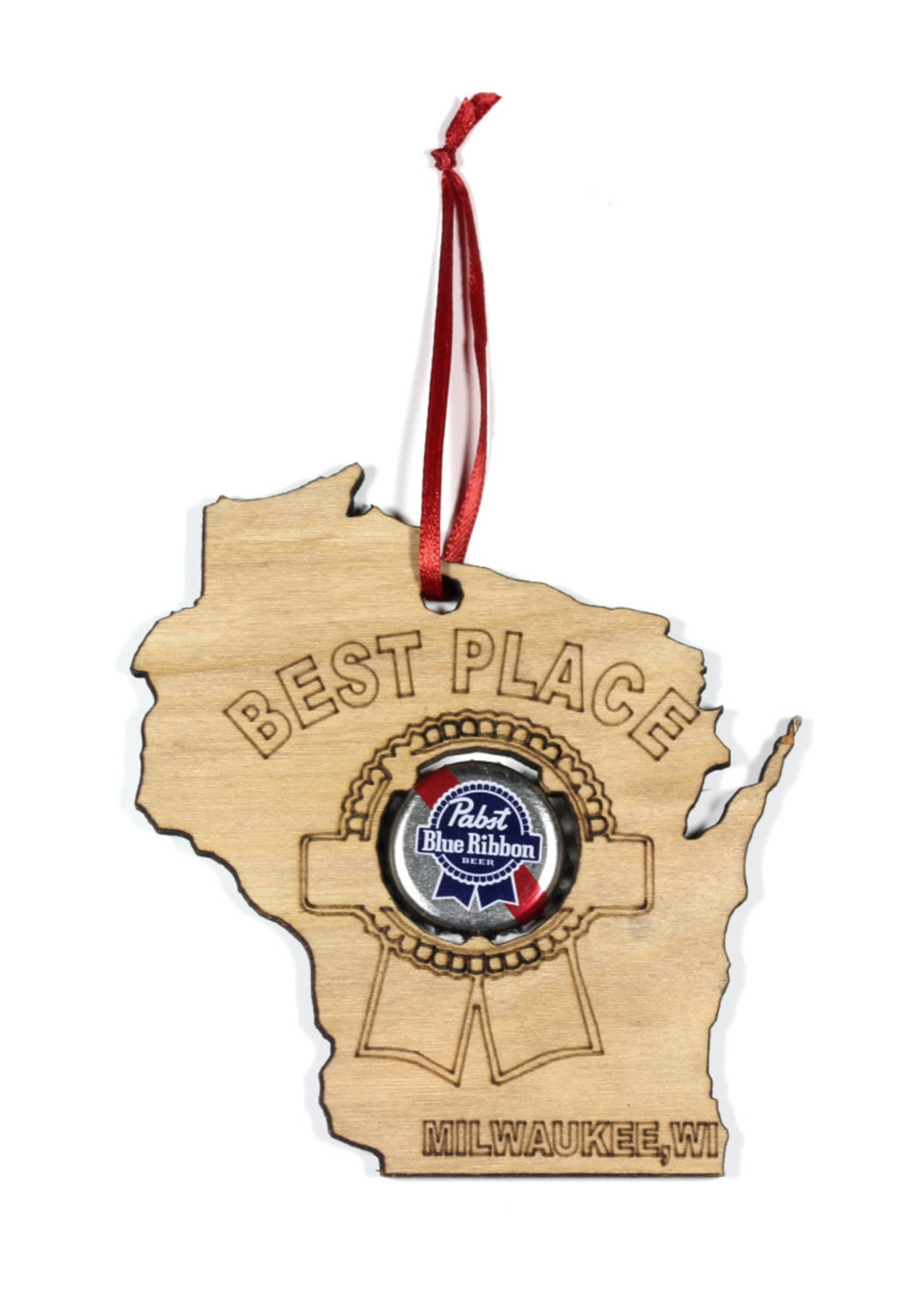 Pabst PBR Wisconsin Wood Ornament