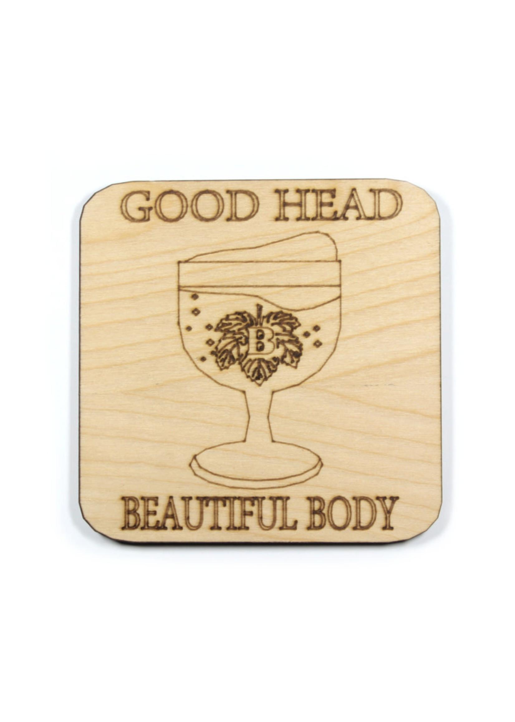 Pabst Wooden Coaster - Beer Good Head