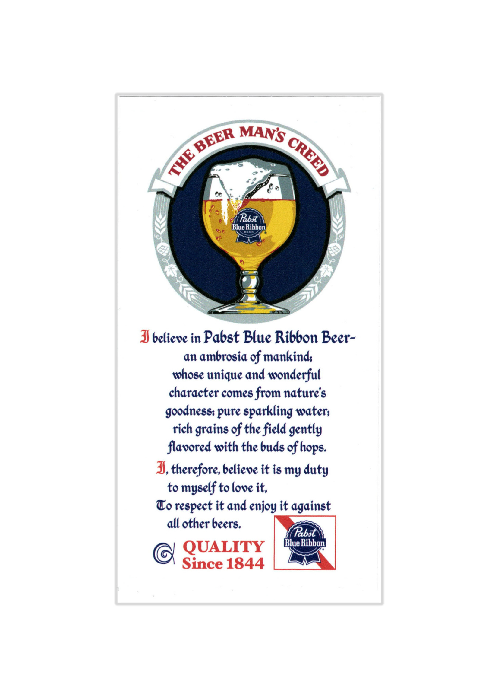 Pabst Pabst Beer Man's Creed Sticker