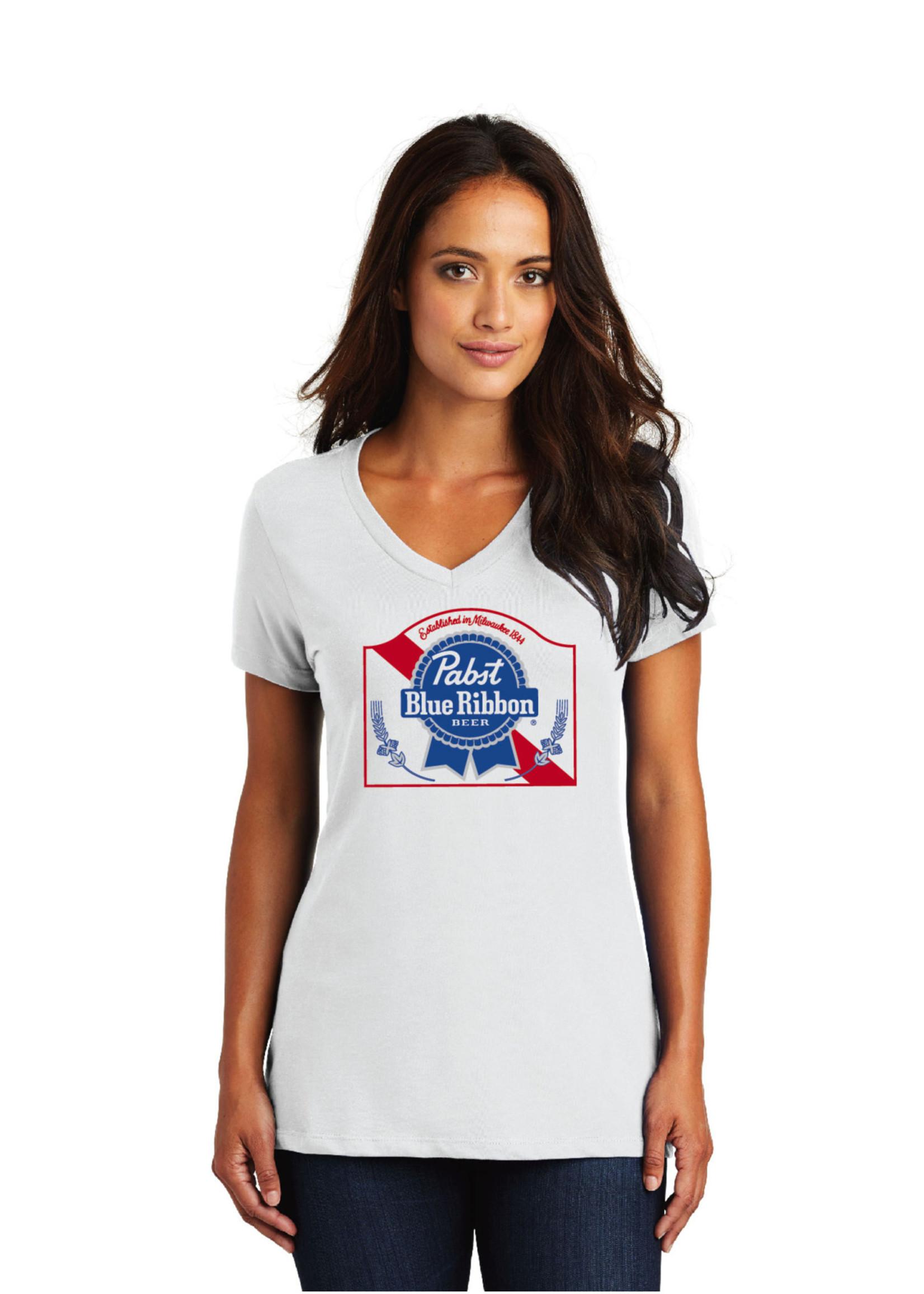 Pabst Women's Pabst White V-Neck Tee