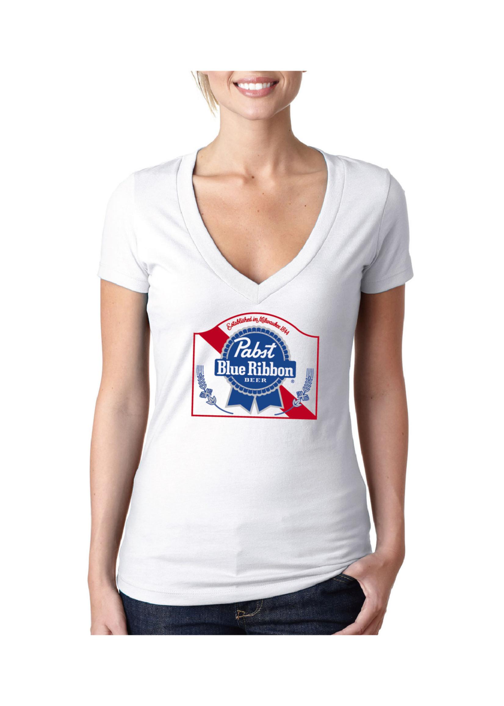 Pabst Women's Pabst White Deep V-Neck Tee