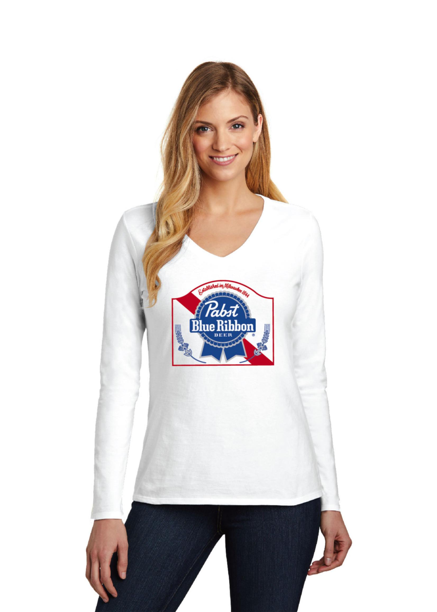Pabst Women's Pabst White Long Sleeve V-Neck Tee