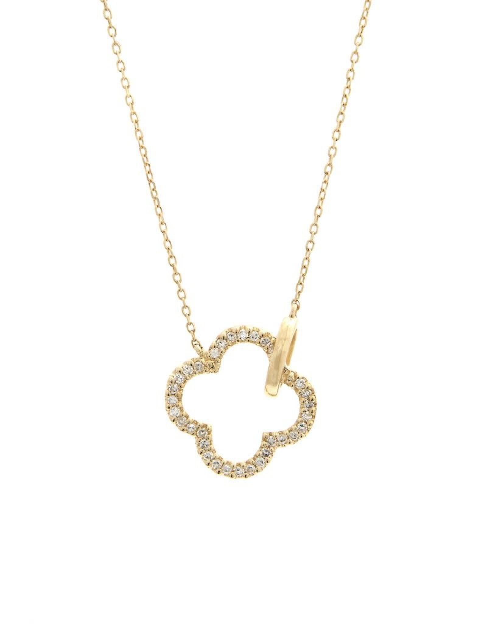 "14K Yellow Gold 0.10CT Diamond Quatrefoil Necklace 16-18"""