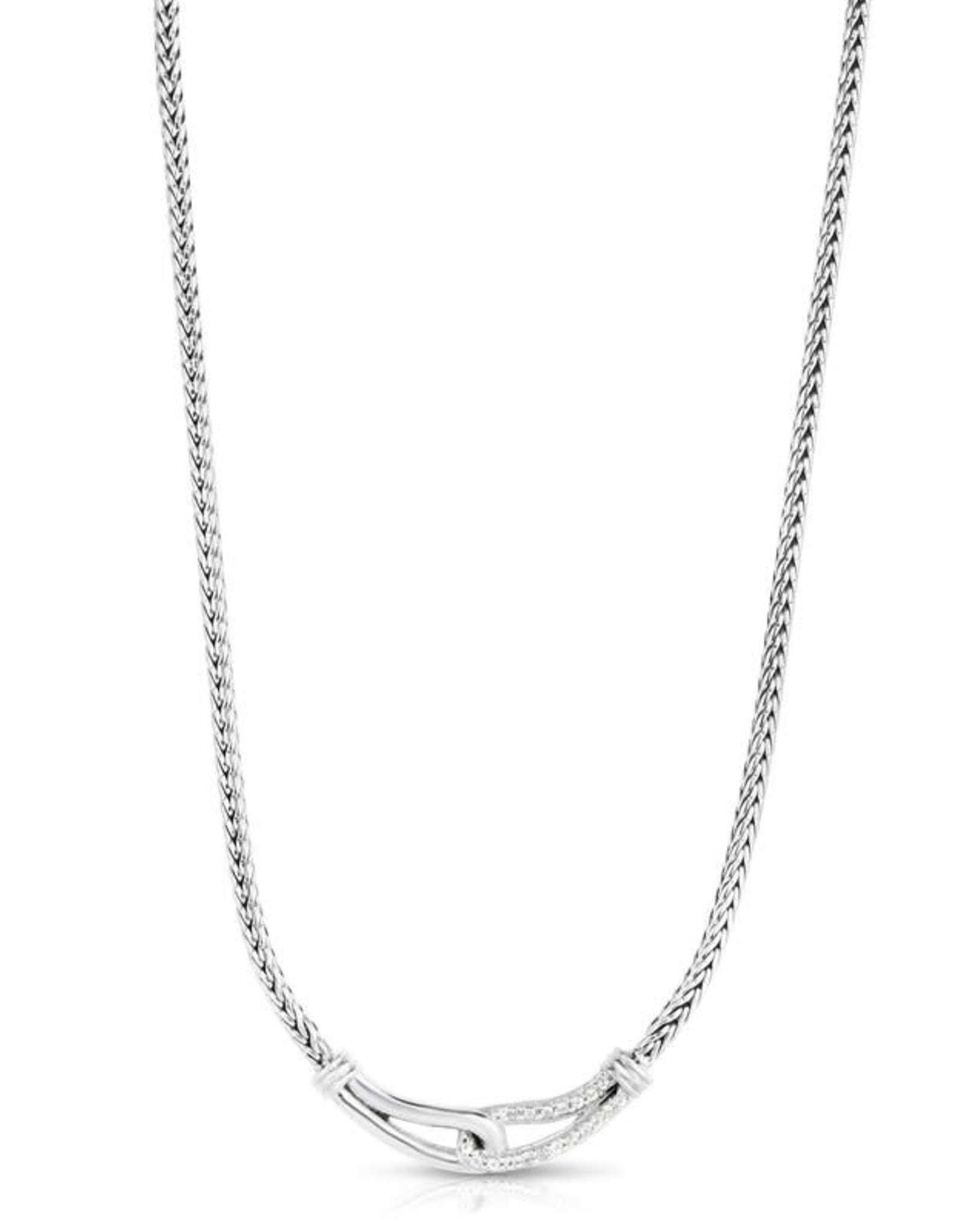 """Sterling Silver White Sapphire Link Weave Necklace 17"""""""