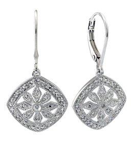 Sterling Silver Diamond Filigree Cushion Drop Earrings