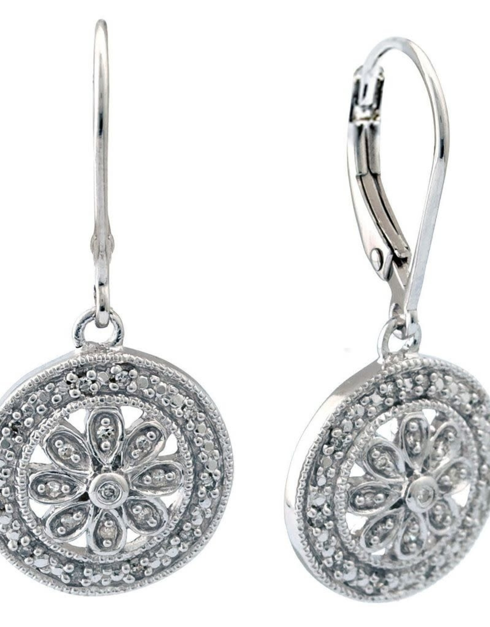 Sterling Silver Round Diamond Filigree Drop Earrings