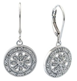 Sterling Silver Round Diamond Filigree Drop Earrings