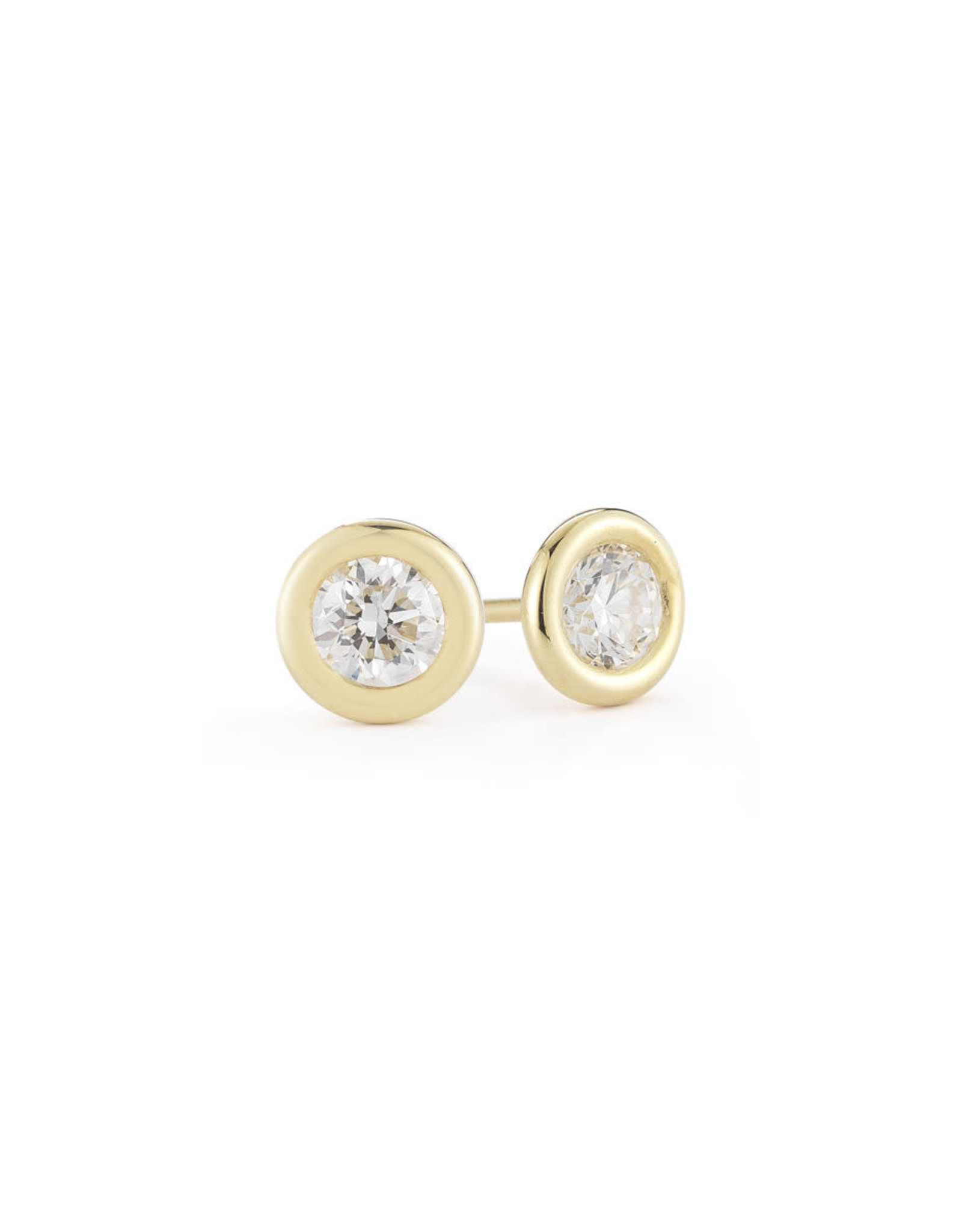 14K Yellow Gold Diamond Bezel Set Studs 0.20CTW