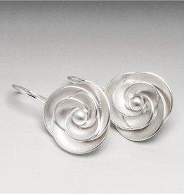 Sterling Silver Rose Drop Earrings