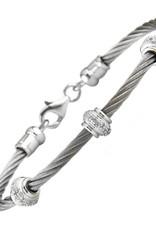 Silver Diamond Rondel Cluster Cable Bracelet 0.05ctw