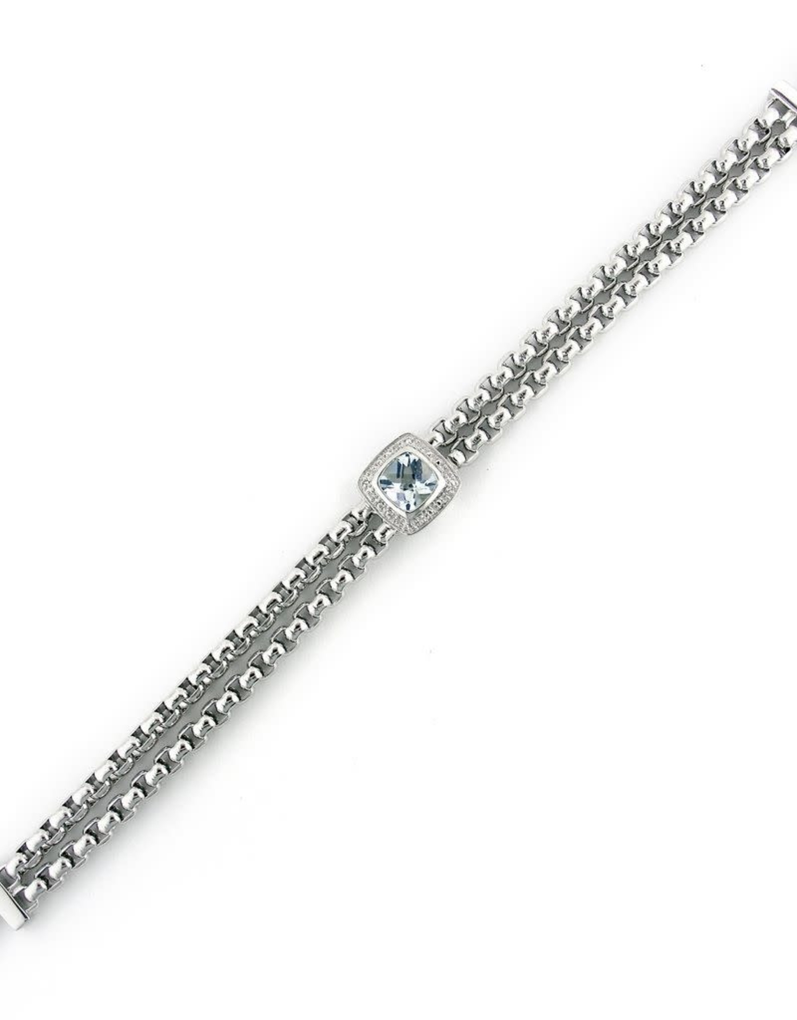 "Silver Blue Topaz & Diamond Bracelet 7""-8"""