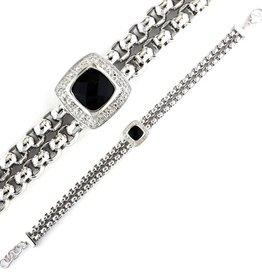 "Silver Black Agate & Diamond Bracelet 7""-8"""