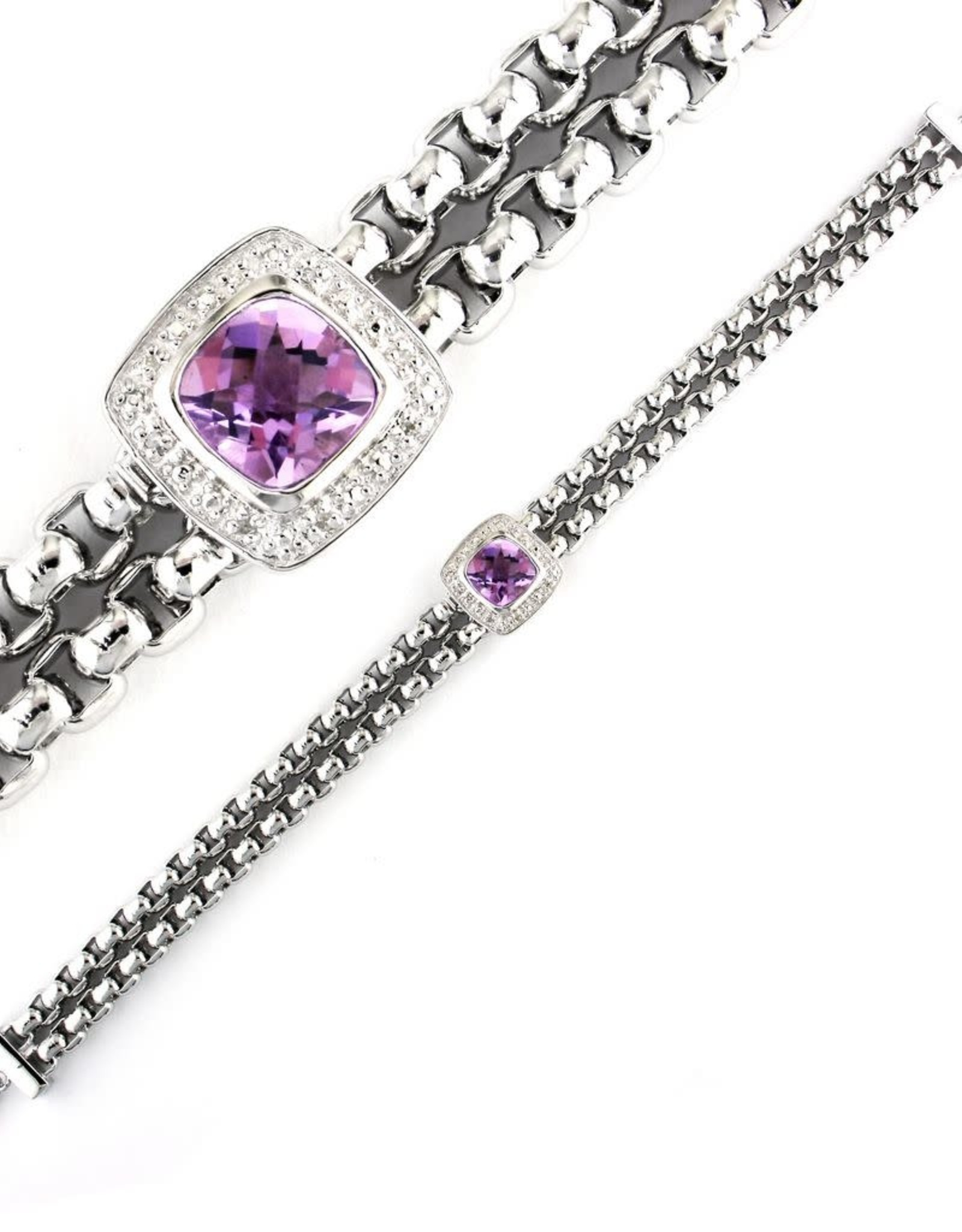 "Silver Amethyst & Diamond Bracelet 7""-8"""