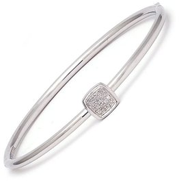 Sterling Steel & Diamond Cushion Cluster Bangle
