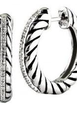 Sterling Silver & Diamond Oxidized Hoop Earrings