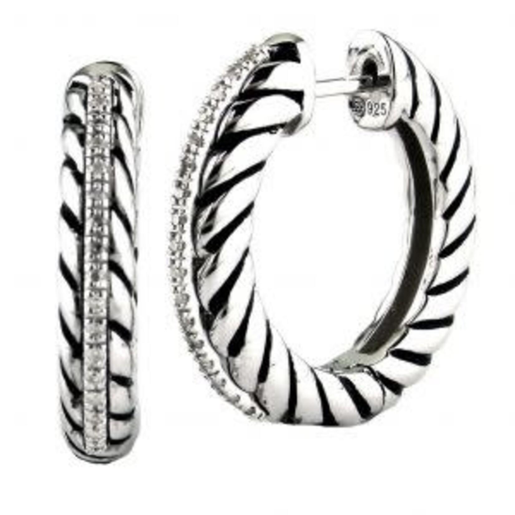 Sterling Silver & Diamond 0.11ctw Oxidized Hoop Earrings