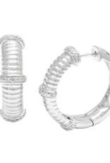 Sterling Silver & Diamond Cable Hoop Earrings