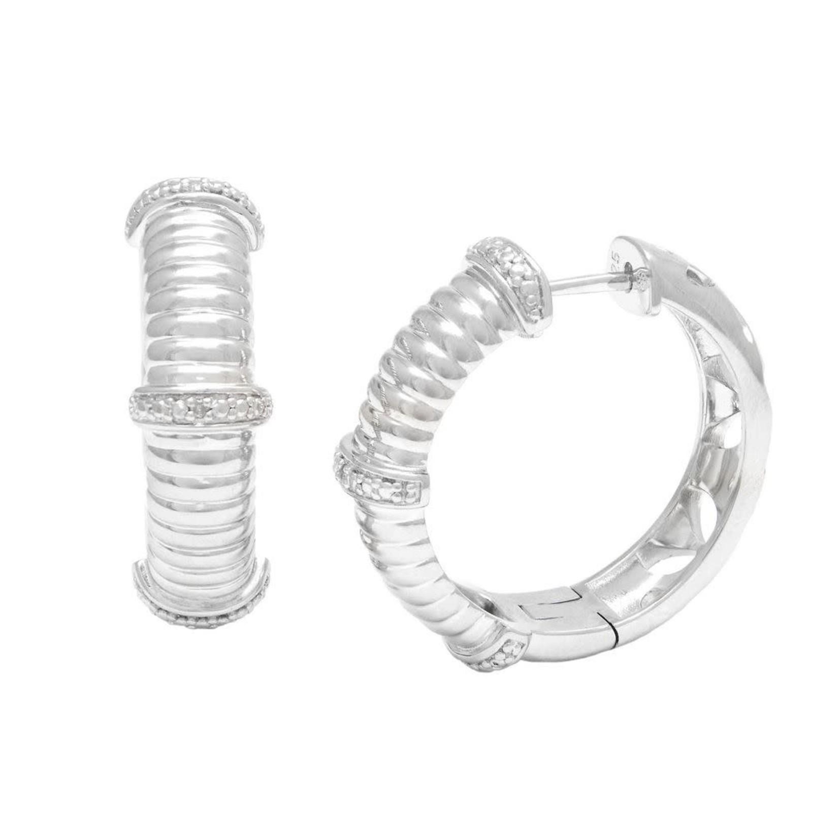 Sterling Silver & Diamond 0.03ctw Cable Hoop Earrings