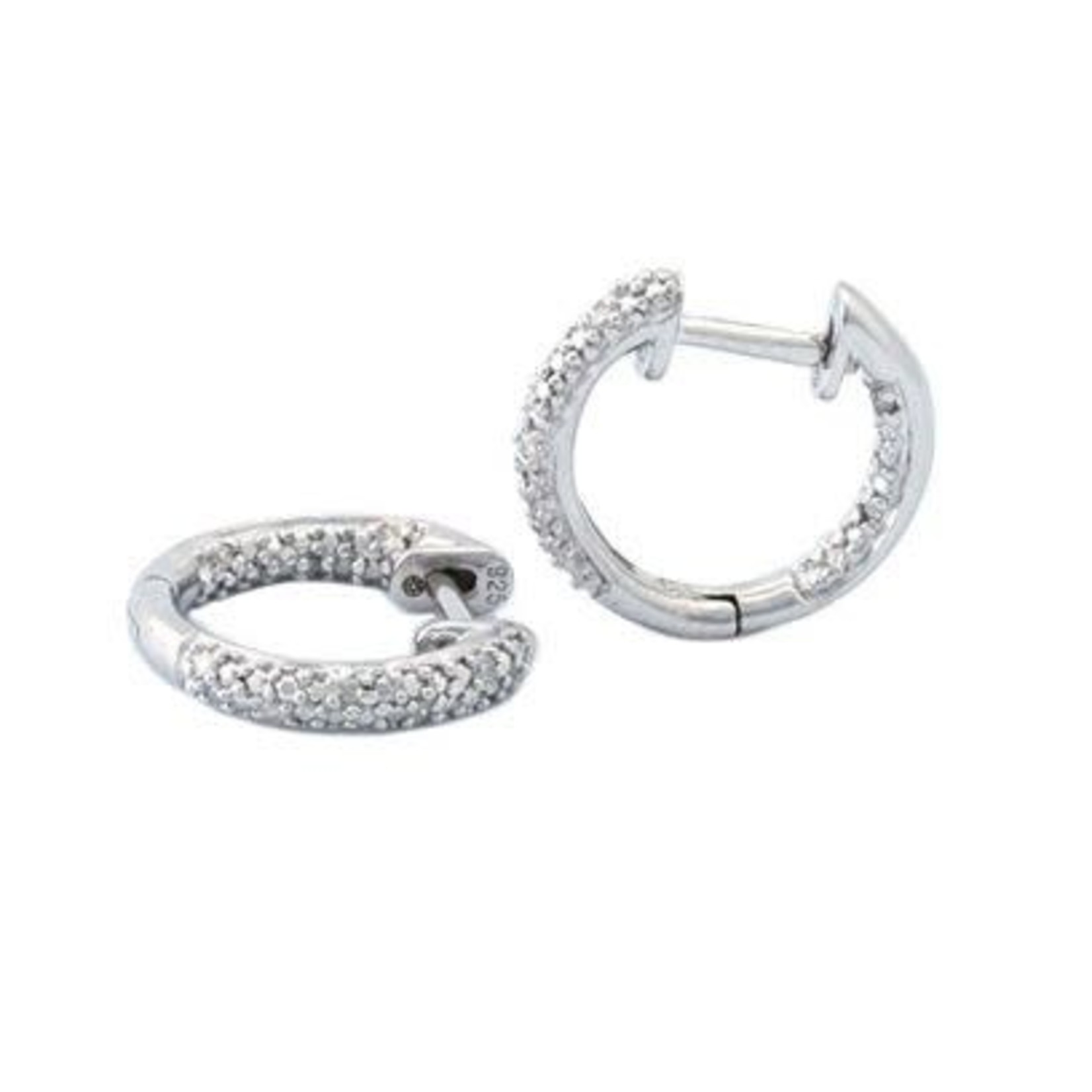 Sterling Silver Pave Inside Outside Diamond Huggie Earrings