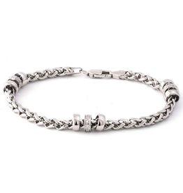 Sterling Silver Diamond Wheat Chain Bracelet