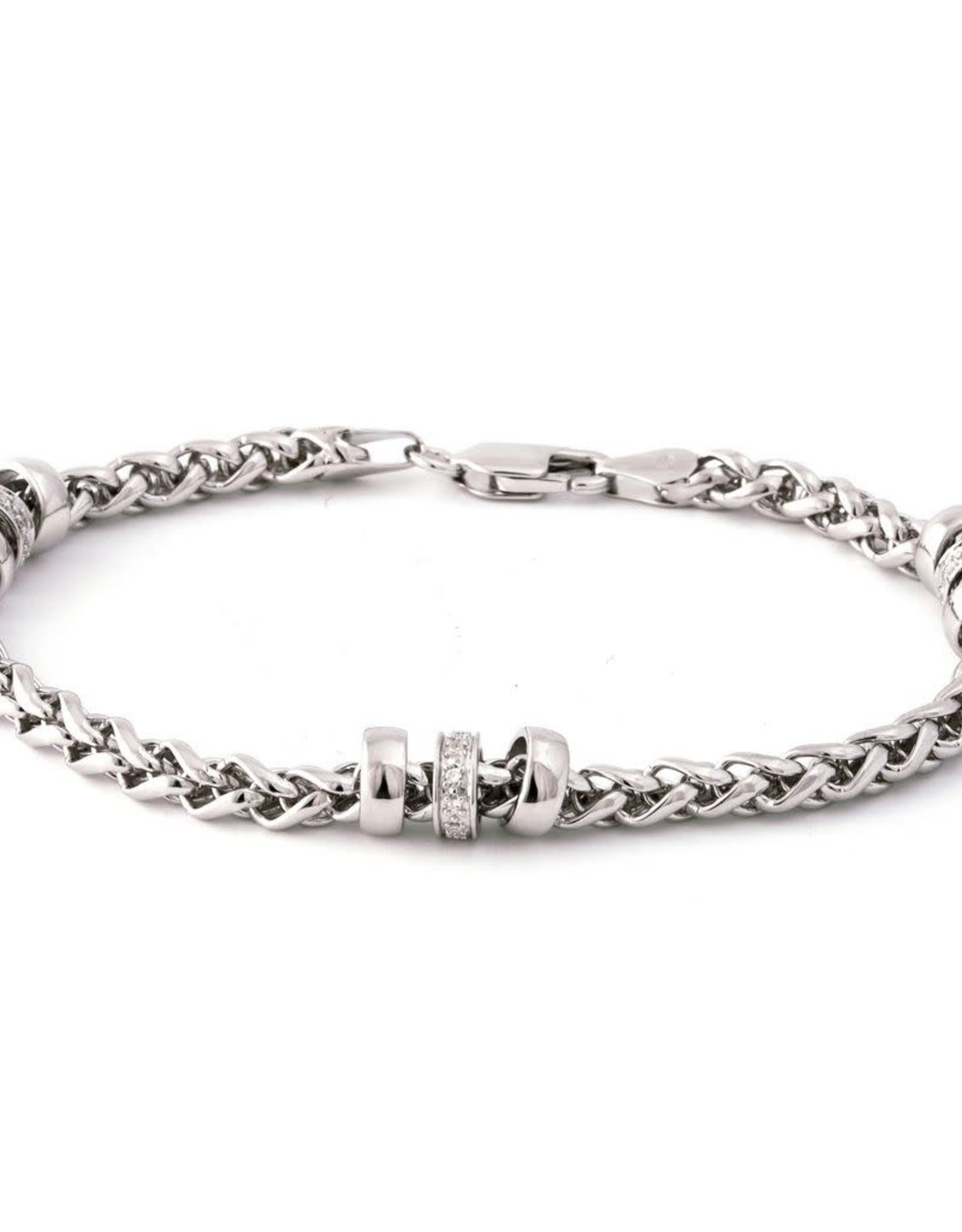 Sterling Silver Diamond Wheat Chain Bracelet