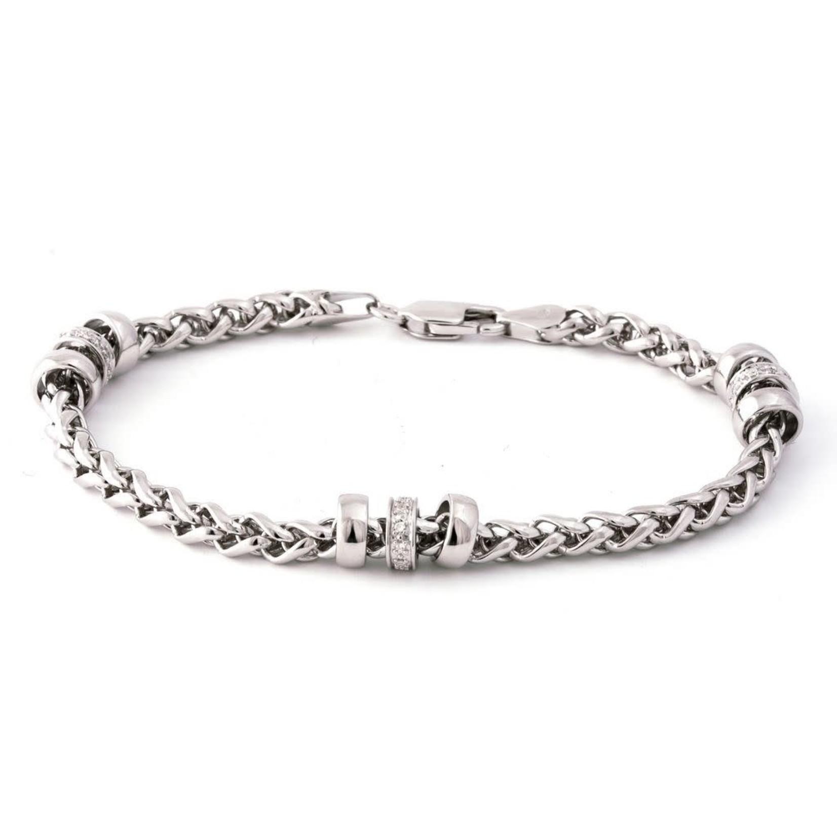 "Sterling Silver Diamond Rondelle Wheat Chain Bracelet 7"""
