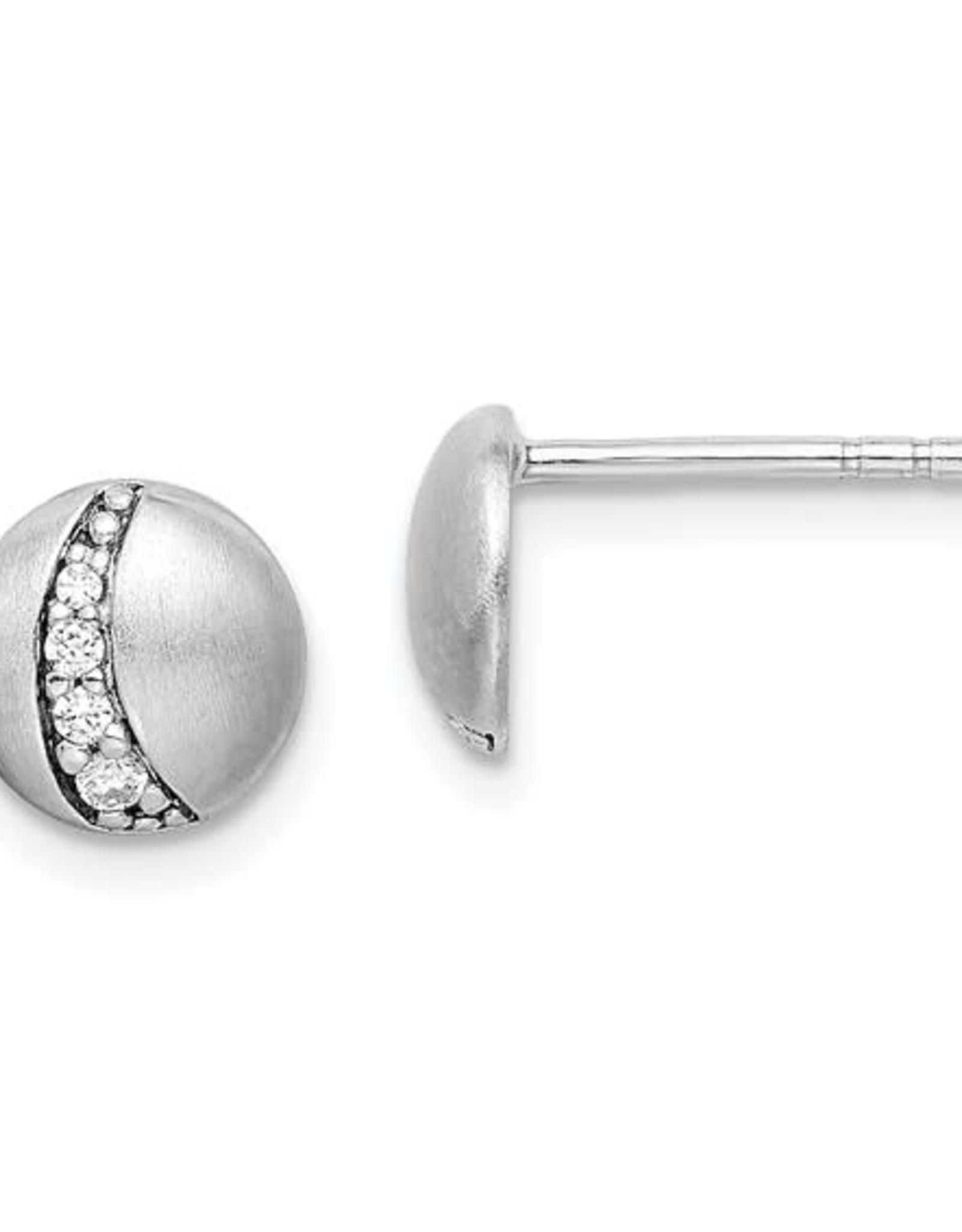 Sterling Silver Small Zircon Matte Button Studs