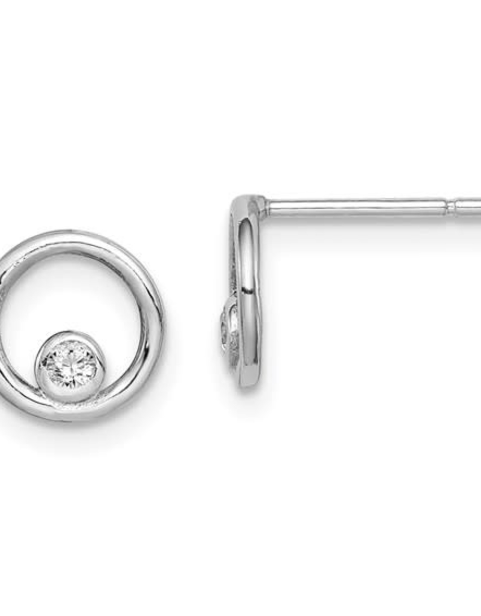 Sterling Silver Small Open Circle Zirconia Studs