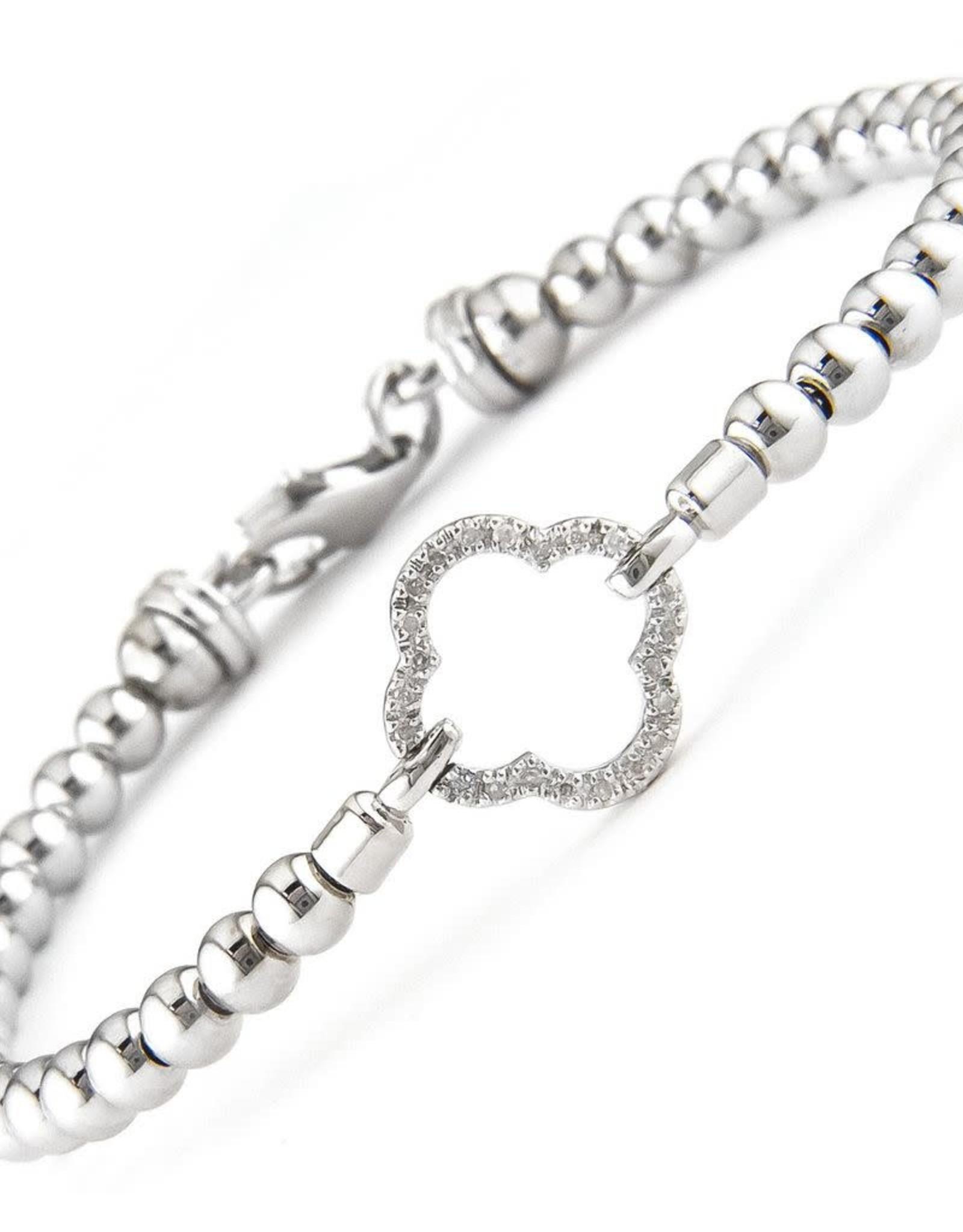 Sterling Silver Diamond Quatrefoil Diamond Bead Bracelet