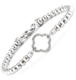 Sterling Silver Diamond Quatrefoil Diamond 0.07ctw Bead Bracelet